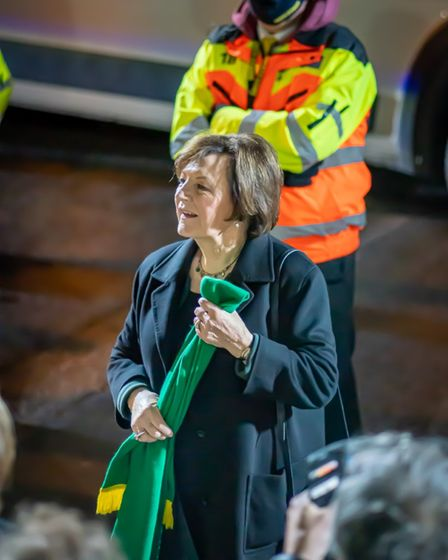 Delia Smith, Norwich City's joint majority shareholder, comes out to meet fans to help celebrate pro
