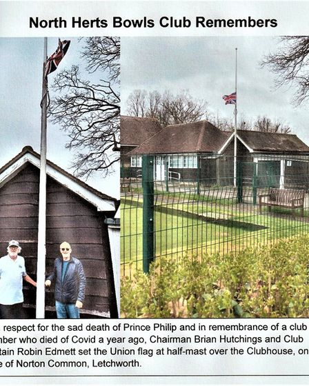 North Herts Bowls Club in Letchworth paid tribute to Prince Philip