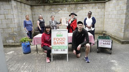 The team at the Copenhagen Street Food Bank, being presented their civic award by mayor, Cllr Janet Burgess