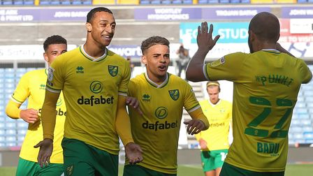 Adam Idah of Norwich celebrates scoring his sides 1st goal during the Sky Bet Championship match at