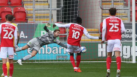 Tim Krul of Norwich saves a penalty kick by Freddie Ladapo of Rotherham United during the Sky Bet Ch