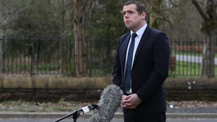 Scottish Conservative Leader Douglas Ross gives a tv interview outside New Stobhill Hospital in Spri