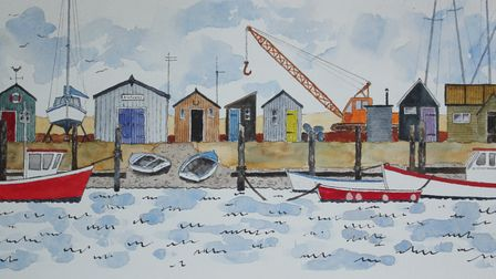 Peter Morgan's painting 'Southwold Harbour Waterfront' for the Royston Arts Society members' exhibition