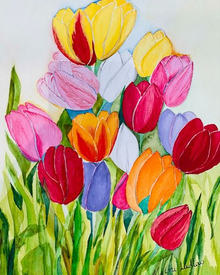 Meiru Ludlow's painting 'Tulips Small' for the Royston Arts Society members' exhibition