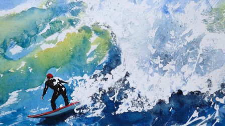 Rosalind Ridley's painting 'Riding the Surf' for the Royston Arts Society members' exhibition