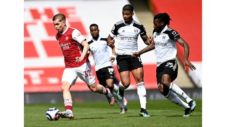Arsenal's Emile Smith Rowe controls the ball against Fulham