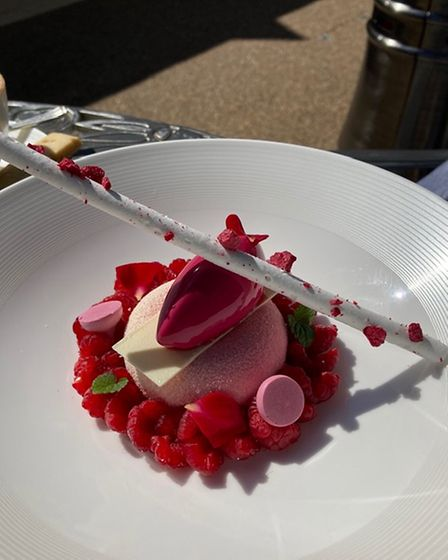 A stunning dessert of raspberries, chocolate and rose water flavours