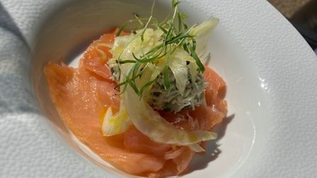 Salmon and Whitby crab salad starter