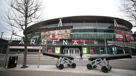 View of the empty streets outside The Emirates Stadium 90 minutes before kick off