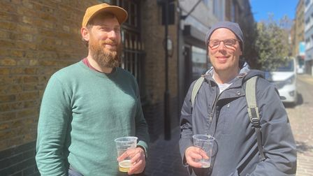 Chris, 37 (left) and his brother Paul, 39, outside Bricklayer's Arms.