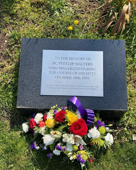 The plaque at Valentines Park for Pc Walters
