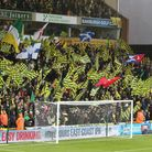 The Barclay End and their flags before the Sky Bet Championship match at Carrow Road, Norwich Pictu