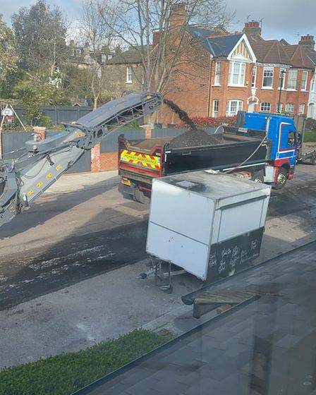 The burger trailer, as the resurfacing works took place