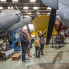 A family view the DH98 Mosquito collection at the de Havilland Aircraft Museum