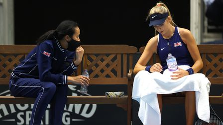 Great Britain captain Anne Keothavong (left) and Katie Boulter during the Billie Jean King Cup play-off