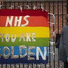A banner in support of the NHS opposite King's College Hospital in south London as the UK continues