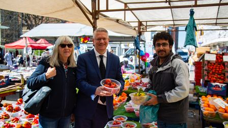 Shops and pubs reopen in Romford Town Centre as Covid restrictions are eased. MP Andrew Rosindale w