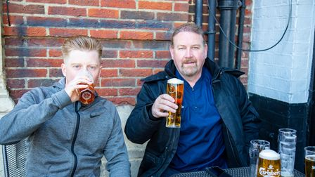Shops and pubs reopen in Romford Town Centre as Covid restrictions are eased. Harry Edwards and Dav