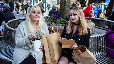 Shops and pubs reopen in Romford Town Centre as Covid restrictions are eased.Maddi Roovers and Evi
