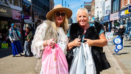 Shops and pubs reopen in Romford Town Centre as Covid restrictions are eased. Sisters Jane Swan and