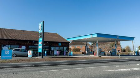 The Co-op petrol filling station.