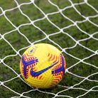 A general view of a football on a net