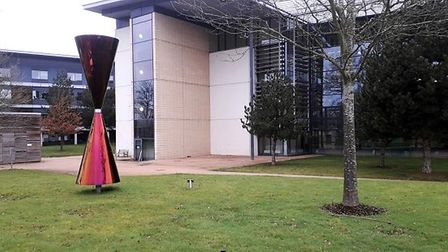 Diane Maclean's Diabolo coloured stainless steel sculpture at the University of Hertfordshire.