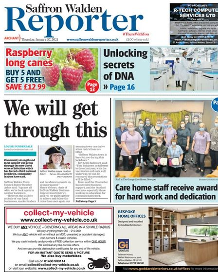 Saffron Walden Reporter's front page onJanuary 7 2021