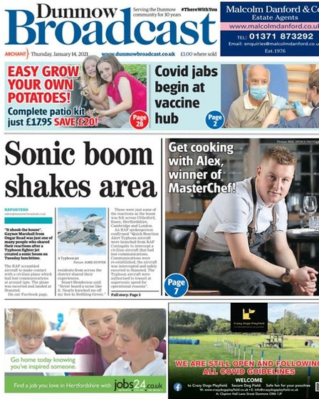 Dunmow Broadcast front page, January 14 2021