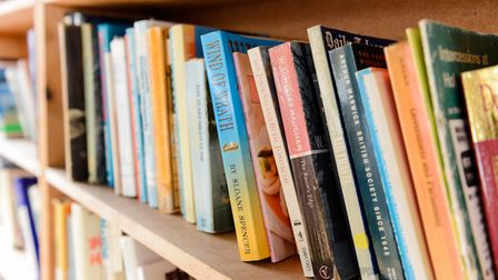 general view of books on a bookshelf