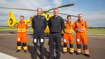 The Duke of Cambridge before he started his final shift with the East Anglian Air Ambulance