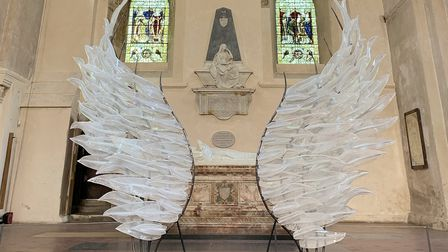The Solace glass wings installation at St Albans Cathedral.