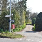 The approach to Coopers Lane, off the B1437 Church Road in Kessingland.