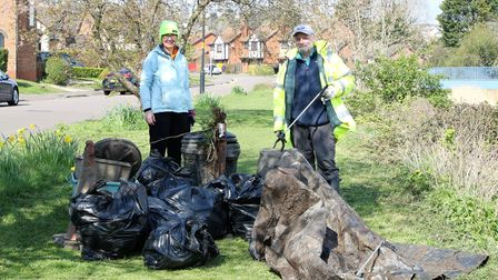 The 'magnificent seven' cleared bags of rubbish between the two bridges in Brampton Way a few weekends ago.