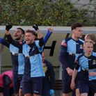 St Neots Town celebrate against Worksop Town in the FA Trophy