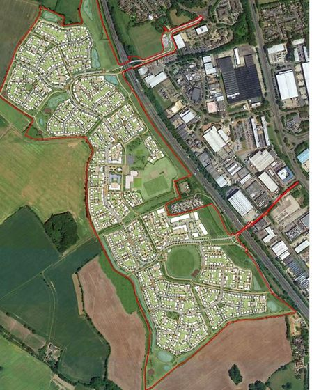 aerial view of plans for west of stevenage