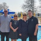 Paul, Pauline, Hayley and David Southey standing in front of the pool at Burgh Hall.