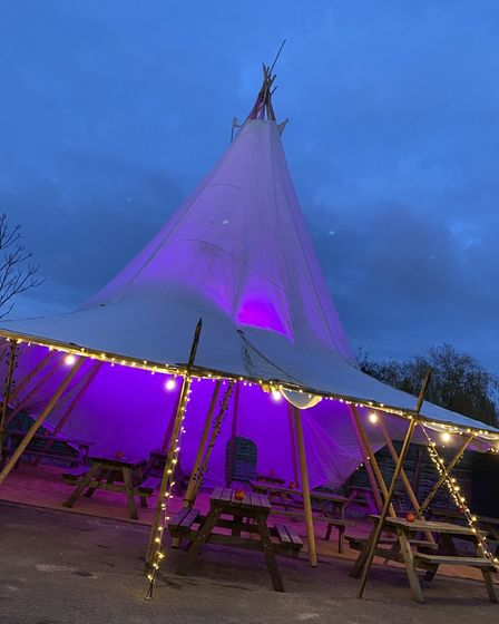 The tipi at the Jolly Farmers