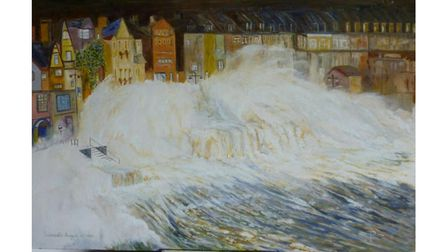 A stormy seafront in Sidmouth August 30,1992 - Oils
