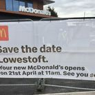 Branding and signage at the site of the new McDonald's, which opens in Lowestoft on April 21.