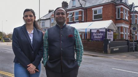 Shreya Dubey, Hotel Manaher, and Mr Vijay Jetani, owner, at Revado Hotel on Stracey Road in Norwich.