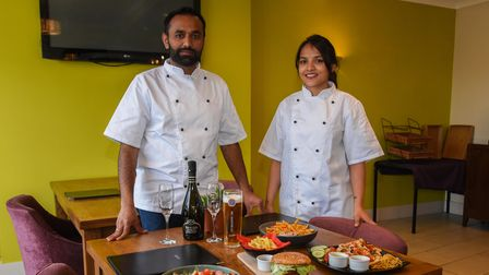 Head chef Dalsukh Jetani and sous chef Mansi Dankhara with some of the food available at Revado Hote