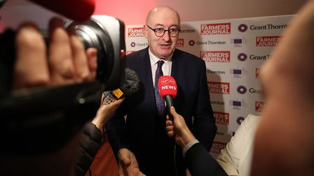 The EU's trade commissioner Phil Hogan speaks to the media. Photograph: Niall Carson/PA.