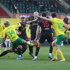 Todd Cantwell of Norwich and Kieran Dowell of Norwich in action during the Sky Bet Championship matc