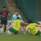 Grant Hanley foiled Andre Gray in Norwich City's 1-0 Championship defeat to Watford