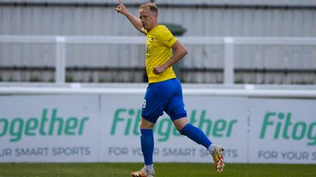 GOAL! Scott Boden of Torquay United celebrates having scored to break the deadlock during the Vanara