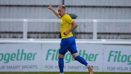 GOAL! Scott Boden of Torquay United celebrates having scored against Woking