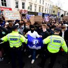 Police attempt to control fans as protest take place against Chelsea's involvement in new Europe Super League