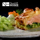 Starter Course - Wellgate salmon loin lovingly wrapped in puff pastry, smoked leeks, ginger, caviar cream.