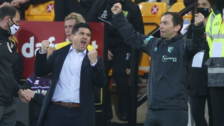 Watford Manager Xisco and his Assistant Roberto Cuesta celebrate victory at the end of the Sky Bet C